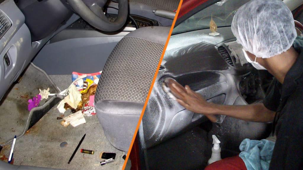 prljava unutrašnjost automobila