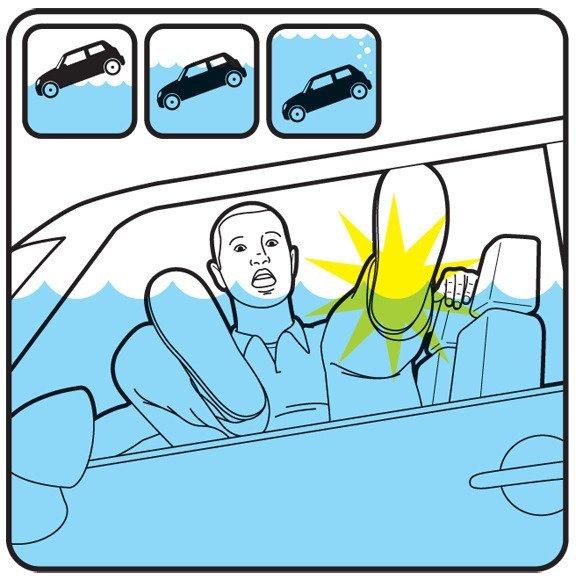 Razbite prozor prije nego voda prekrije automobil.
