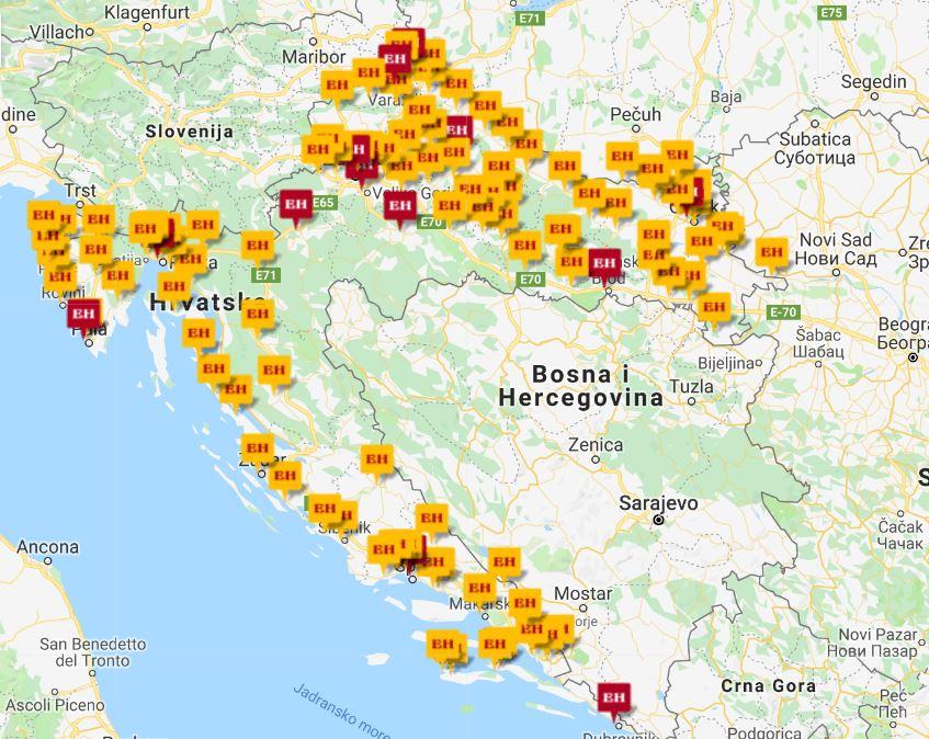 Primjer prikaza svih poslovnica Euroherc osiguranja na karti...